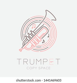 Trumpet, music note with line staff circle shape logo icon outline stroke set dash line design illustration isolated on grey background with saxophone text and copy space