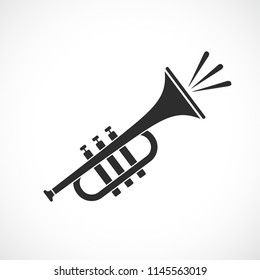 Trumpet music vector icon isolated on white background