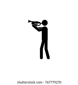 trumpet player icon. Silhouette of a musician icon. Premium quality graphic design. Signs, outline symbols collection icon for websites, web design, mobile app on white background