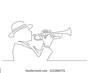 Trumpet player isolated line drawing, vector illustration design. Music collection.