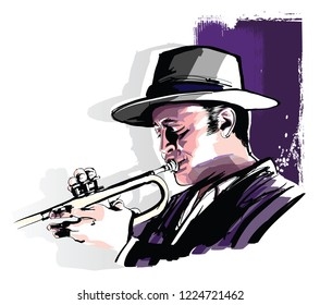 Trumpet player on grunge background - vector illustration