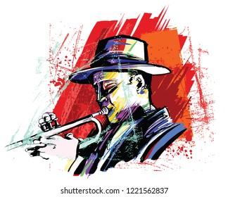 Trumpet player over grunge background - vector illustration
