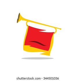 Trumpet with a Red Flag Vector Cartoon Illustration. Bugle Pioneer of Soviet youth organization Isolated on a White Background