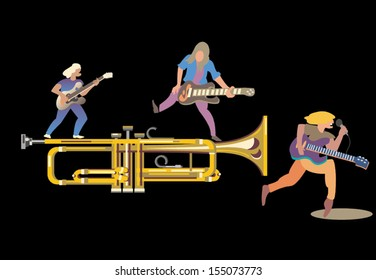trumpet serves as a musical motif around which rock singers and guitar players perform on a black background