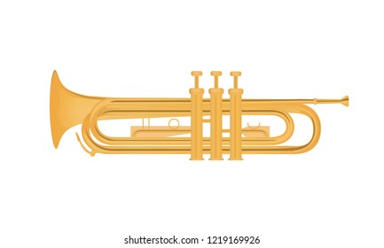 Trumpet vector illustration isolated on white background. Shiny brass music instrument.