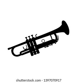 Trumpet Wind Musical Instrument Silhouette. Smooth and Clear. Vector Ilustration.