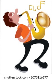 A trumpeter busy blowing his trumpet