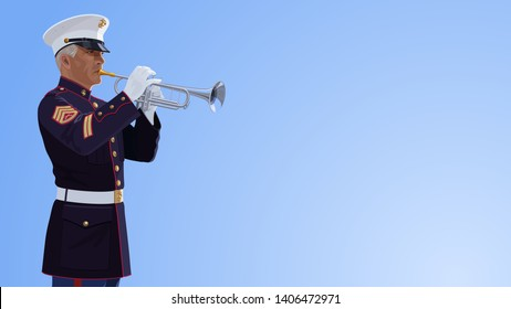 Trumpeter of United States Marine Corps. Imaginary person is standing against a sky. Vector image. Staff sergeant. USMC blue uniform. Military musician plays the trumpet. Wallpaper for Memorial Day