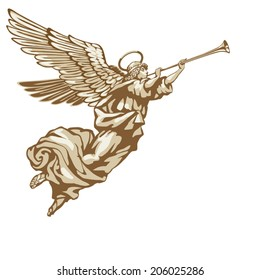 Trumpeting angel in three colors on white background
