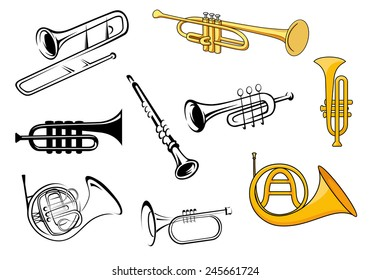 Trumpets, trombone, tuba, clarinet icons in sketch and cartoon style for orchestra and music entertainment poster design