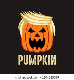 Trumpkin Make Halloween Great Again, Halloween pumpkin with happy face on dark background. Vector cartoon Illustration Halloween Trumpkin Funny T-Shirt