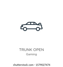 Trunk open icon. Thin linear trunk open outline icon isolated on white background from gaming collection. Line vector sign, symbol for web and mobile