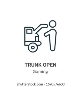 Trunk open outline vector icon. Thin line black trunk open icon, flat vector simple element illustration from editable gaming concept isolated stroke on white background