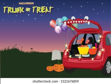 Trunk or Treat Halloween illustration graphic vector
