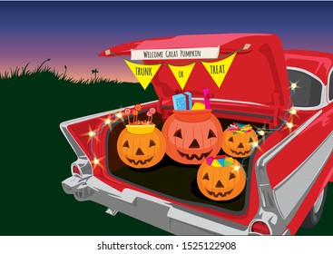 Trunk or Treat Halloween night on illustration graphic vector