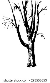 The trunk of the tree on a white background. The ink drawing. Editable Vector illustration.