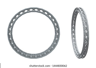 Truss circle. Isolated on white background. 3D Vector illustration. Different viewes.