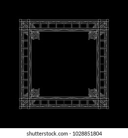 Truss construction. Isolated on black background. Vector outline illustration. Top view.