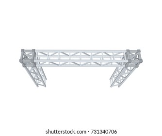 Truss construction. Isolated on white background. 3D Vector illustration. Top view.