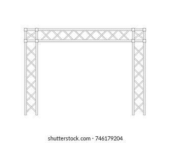 Truss construction. Isolated on white background.Vector outline illustration. Front view.