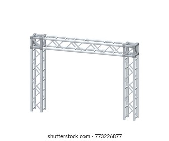 Truss construction. Isolated on white background. 3D Vector illustration. Dimetric projection.