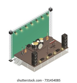 Truss construction of stage for street performance with audio amplifiers electric  guitars and percussion instruments isometric vector illustration