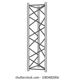 Truss girder element. Wireframe low poly mesh vector illustration.