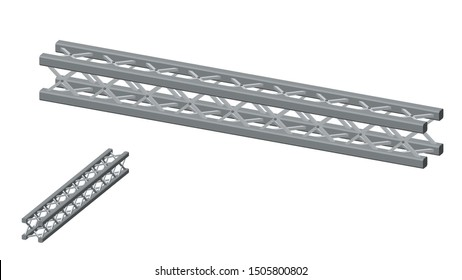 Truss girder. Isolated on white background. 3D Vector illustration. Dimetric projection.