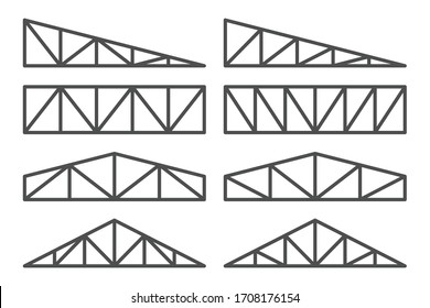 Truss icon set. roofing steel frame.
