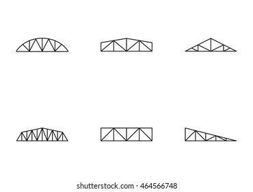 Truss types icons set. Simple line style. For web or mobile