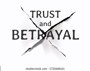 trust and betrayal slogan on ripped paper illustration