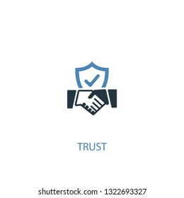 trust concept 2 colored icon. Simple blue element illustration. trust concept symbol design. Can be used for web and mobile UI/UX
