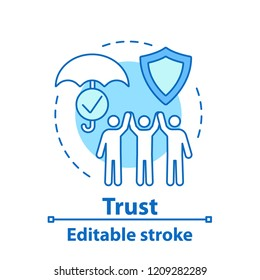 Trust concept icon. Insurance idea thin line illustration. Friendship, partnership. Teamwork. Vector isolated outline drawing. Editable stroke