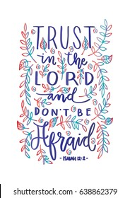 Trust In The Lord. Bible Verse. Hand Lettered Quote. Modern Calligraphy. Christian Poster