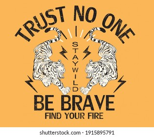 Trust no one Be Brave Japanese tiger print artwork for fashion and others