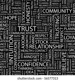 TRUST. Seamless vector background. Word cloud concept illustration of  association terms.