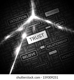 TRUST. Word cloud concept illustration. Graphic tag collection. Wordcloud collage with related tags and terms.
