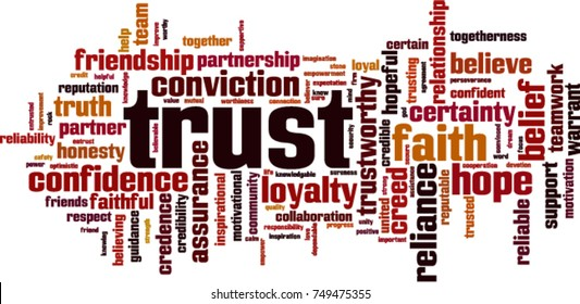 Trust word cloud concept. Vector illustration