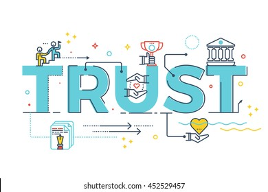 Trust word lettering typography design illustration with line icons and ornaments in blue theme