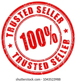 Trusted 100 seller rubber vector stamp illustration isolated on white background