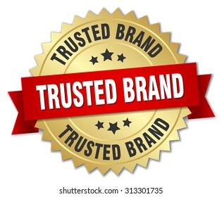 trusted brand 3d gold badge with red ribbon