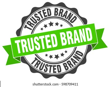 trusted brand. stamp. sticker. seal. round grunge vintage ribbon trusted brand sign