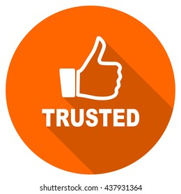 trusted vector icon, orange circle flat design internet button, web and mobile app illustration