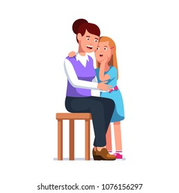 Trusting daughter telling secrets in mom ear standing next to her. Smiling exited mother listens to gossip whisper. Standing kid speaking in sitting adult woman ear. Flat vector character illustration