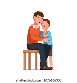 Trusting son telling secrets in father ear standing next to him. Smiling exited father listens to gossip whisper. Standing kid speaking in sitting adult man ear. Flat vector character illustration
