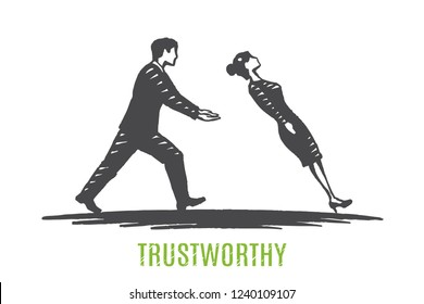 Trustworthy, relationship concept art sketch. A man catches a falling woman. Vector hand drawn illustration.