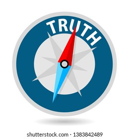 truth concept, compass, white background