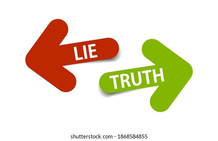 Truth and lie set of two arrows with shadow on white background - vector