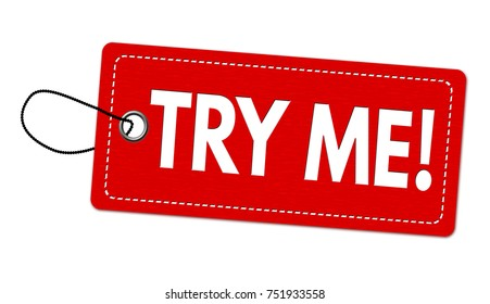 Try me label or price tag on white background, vector illustration