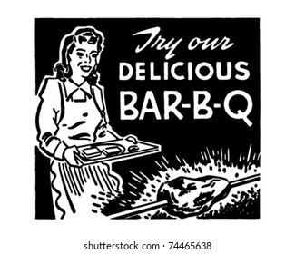 Try Our Delicious Bar-B-Q - Retro Ad Art Banner